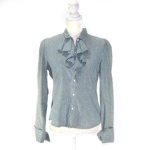 POLO Jeans Denim Button Down Ruffle Top Light Wash